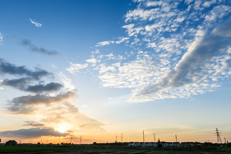 cumulus: clouds in the sky at sunset Stock Photo