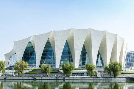venues: Shanghai,China - on July 22,2016:Shanghai Oriental sports center building scenery,it was mainly used for water sports in a comprehensive sports venues,Shanghais famous landmarks.