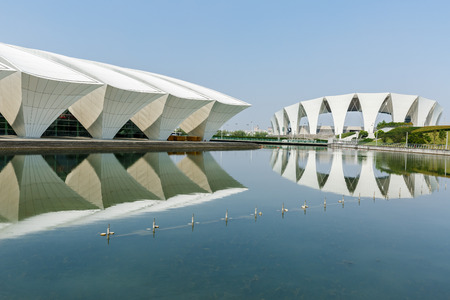 Shanghai,China - on July 22,2016:Shanghai Oriental sports center building scenery,it was mainly used for water sports in a comprehensive sports venues,Shanghais famous landmarks.