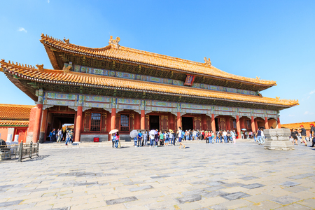 Beijing,China - September 18,2015:The famous ancient Forbidden City,the Palace is the royal palace of Chinas Ming and Qing dynasties,it is the worlds cultural heritage.