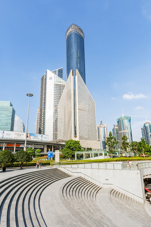 influential: Shanghai,China - on August 23,2016:Lujiazui financial district skyscrapers buildings landscape in Shanghai,Shanghai Lujiazui is one of the most influential financial center of China. Editorial