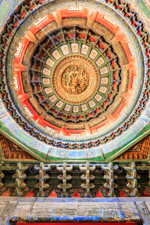 Beijing,China - September 18,2015:Circular roof ancient dragon carved in the Forbidden City,the Forbidden City is the royal palace of Chinas Ming and Qing dynasties,it is the world cultural heritage.