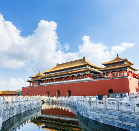 The ancient royal palaces of the Forbidden City in Beijing,China Editorial