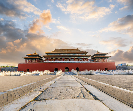 The ancient royal palaces of the Forbidden City in Beijing,China Imagens