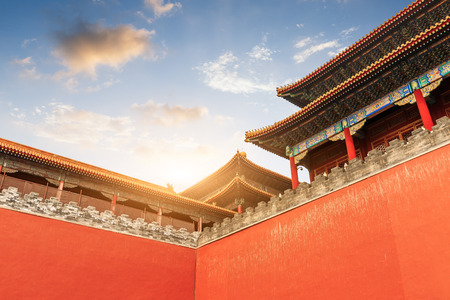 De oude koninklijke paleizen van de Verboden Stad in Beijing, China Redactioneel