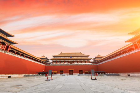 The ancient royal palaces of the Forbidden City in Beijing,China Редакционное