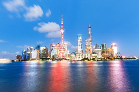 huangpu: Beautiful Shanghai city skyline and the huangpu river at night,China