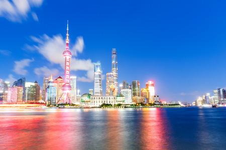 Beautiful Shanghai city skyline and the huangpu river at night,China