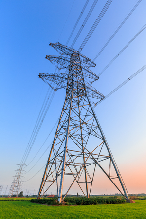 High voltage power tower scenery Stock Photo