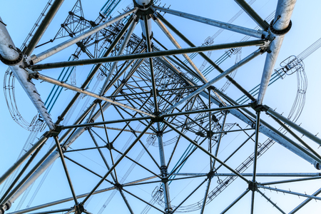 power tower: High voltage power tower scenery Stock Photo