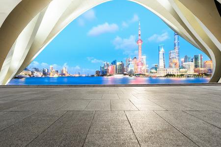 Empty floor and modern urban architecture scene in Shanghai