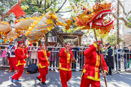 Shanghai,China,on February 11,2017 - Dragon and lion parade dance show in the Chinese Lantern Festival. Editorial