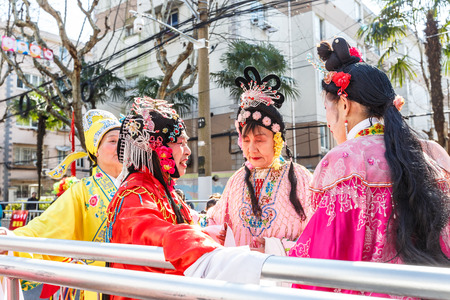 troupe: Shanghai,China,on February 11,2017 - Chinese traditional Beijing Opera performance show in the Chinese Lantern Festival.