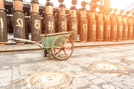 stove pipe: Steel Plant old industrial equipment scene in China Stock Photo