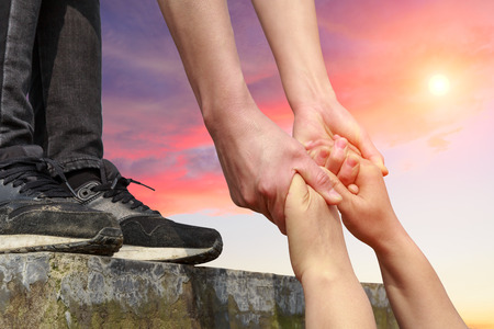 helping hand with the sky background Stock Photo