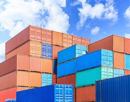 storage box: Industrial port container terminal Stock Photo