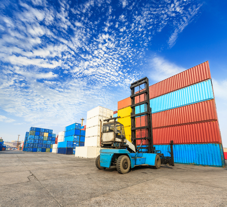 Industrial port container terminal Stock Photo