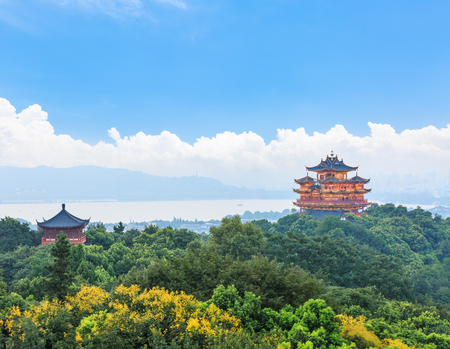 Hangzhou West Lake and ancient pavilion architectural scenery