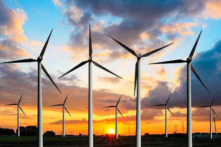 Wind generator and sky sunset background