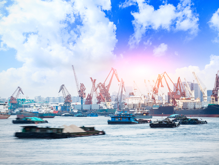 Industrial port cargo ships and crane