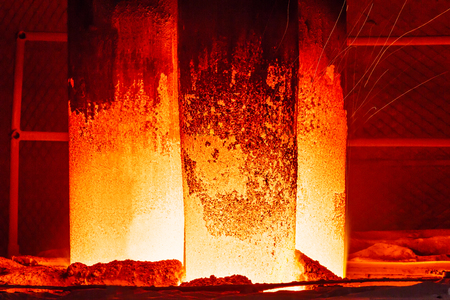 smelting plant: Melting iron close view in steel mills