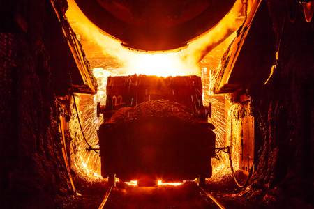 smelting plant: Liquid metal from blast furnace in the steel plant,industry landscape