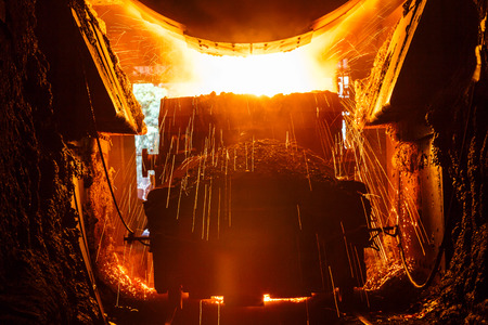 Liquid metal from blast furnace in the steel plant,industry landscape