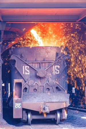 Liquid metal from blast furnace in the steel plant,industry landscape