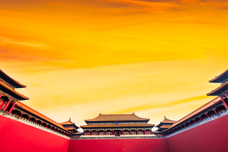 ancient royal palaces of the Forbidden City in Beijing, China Editorial