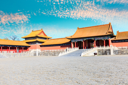 royal palaces of the Forbidden City in Beijing,China Editorial