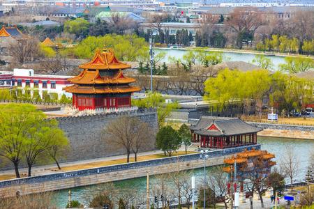 베이징 시내 전망을 갖춘 금단의 망루 스톡 콘텐츠