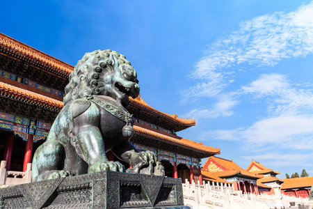 Bronze lion at the Forbidden City, Beijing, Chinese cultural symbols