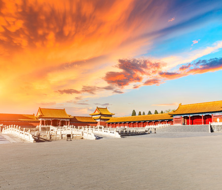 Beijing forbidden city scenery at sunset, China Editorial