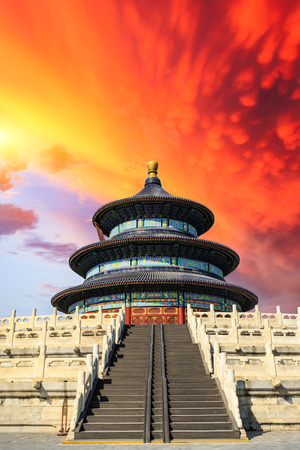 Temple of Heaven landscape at sunset in Beijing