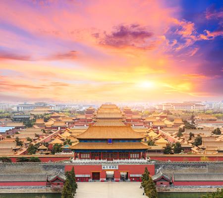 Peking verboden stadslandschap bij zonsondergang, China