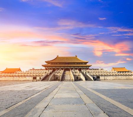 베이징 금지 된 도시 풍경 일몰, 중국, 중국어 기호