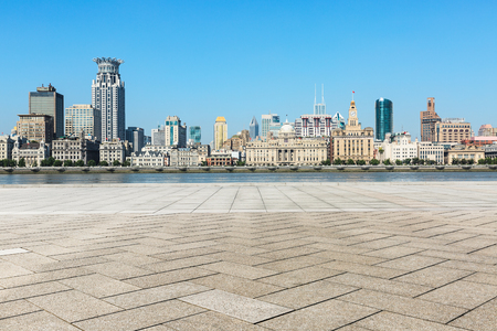 Empty square floor and modern city architecture scenery in Shanghai