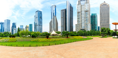 Shanghai commercial buildings and green park panorama