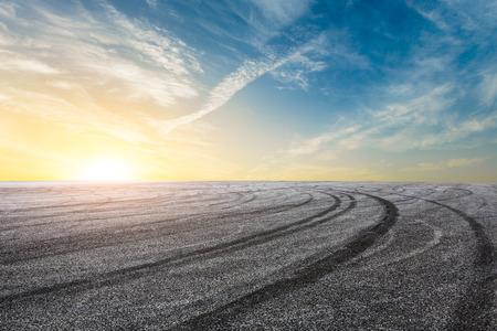 International circuit asphalt road and beautiful sky sunset landscape Stock Photo