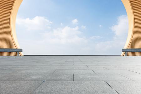 Empty city square floor and blue sky nature landscape Foto de archivo