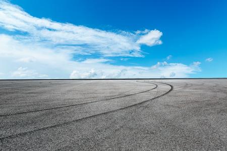 International circuit asphalt road ground under the blue sky