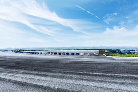 International circuit asphalt road and blue sky nature landscape Stock Photo