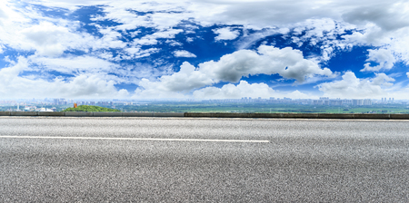 Empty highway asphalt road and beautiful sky clouds landscape,panoramic view