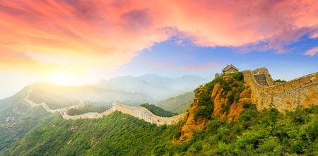 Grande Muraille de Chine à la section jinshanling, paysage de coucher de soleil Banque d'images - 92773315