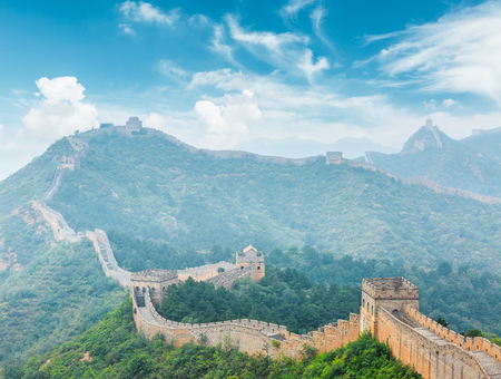 The famous Great Wall of China,jinshanling,fog landscape Stock Photo