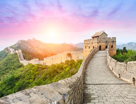 jinshanling 섹션에서 중국의 만리 장성, 일몰 풍경