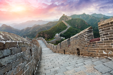 Great Wall of China at the jinshanling section,sunset landscape Stock Photo - 93067536
