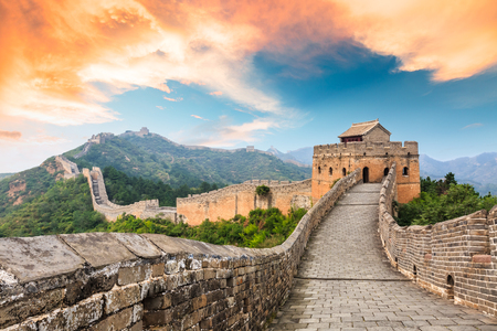 Great Wall of China at the jinshanling section,sunset landscape Stok Fotoğraf - 93067546