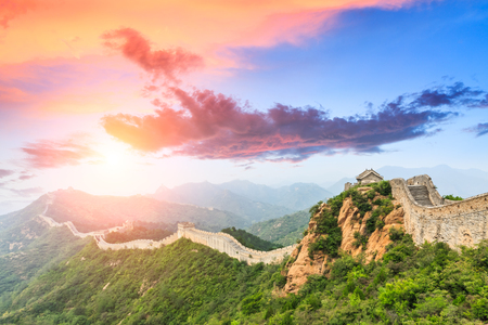 Great Wall of China at the jinshanling section,sunset landscape panoramic view