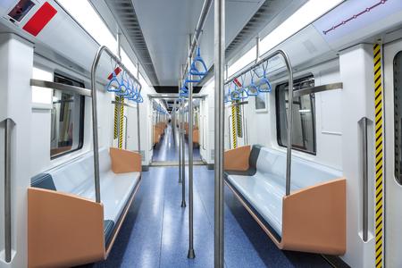 empty metro train interior scene in shanghai,China Editorial